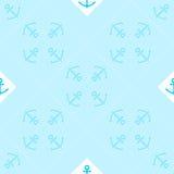 Teste padrão sem emenda do vetor da arte Op com âncoras Fundo marinho Silhuetas do Guilloche das âncoras em repetir listras ilustração do vetor