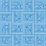 Teste padrão sem emenda do vetor da arte Op com âncoras Fundo marinho Silhuetas do Guilloche das âncoras em repetir listras ilustração stock