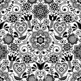 Teste padrão sem emenda do vetor da arte popular com pássaros e flores, design floral repetitivo preto e branco escandinavo Imagens de Stock Royalty Free