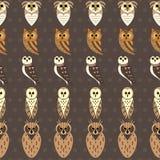 Teste padrão sem emenda do vetor da coruja ilustração royalty free