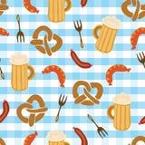 Teste padrão sem emenda do vetor da forquilha da salsicha da cerveja dos pretzeis ilustração stock