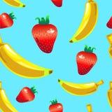 Teste padrão sem emenda do vetor da morango da banana no fundo azul Fotografia de Stock Royalty Free