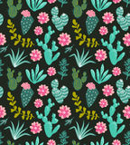 Teste padrão sem emenda do vetor da planta dos cactos das plantas carnudas Cópia verde botânica da tela da flora do deserto ilustração do vetor