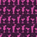Teste padrão sem emenda do vetor da silhueta do vidro de cocktail, barra tirada ilustração do vetor