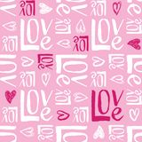 Teste padrão sem emenda do vetor da tipografia do dia de Valentim escrito mão Corações da garatuja e amor tirados mão da palavra  ilustração do vetor