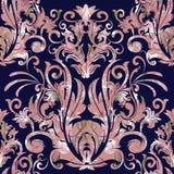 Teste padrão sem emenda do vetor do damasco Obscuridade barroco floral - backgro azul ilustração stock