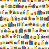 Teste padrão sem emenda do vetor das caixas de presente em seguido Presentes com as fitas vermelhas, amarelas e azuis em um fundo ilustração do vetor