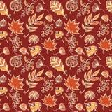 Teste padrão sem emenda do vetor das folhas de outono Fundo botânico nas cores da laranja, do vermelho e do bege ilustração stock