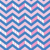 Teste padrão sem emenda do vetor das listras da viga no rosa, branco e azul teste padrão 3-d das listras do ziguezague imagem de stock