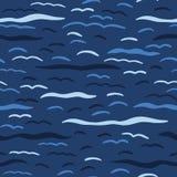 Teste padr?o sem emenda do vetor das ondas de oceano dos azuis marinhos Telha tirada m?o da ?gua da praia do beira-mar Aqua ondul ilustração stock