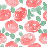 Teste padrão sem emenda do vetor das rosas vermelhas da aquarela Imagens de Stock Royalty Free