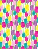 Teste padrão sem emenda do vetor das tulipas coloridas Imagens de Stock