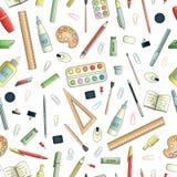 Teste padrão sem emenda do vetor de artigos de papelaria coloridos ilustração do vetor