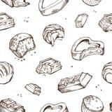 Teste padrão sem emenda do vetor de chocolates mordidos esboços Rolos doces, barras, vitrificadas, feijões de cacau Objetos isola ilustração stock