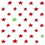 Teste padrão sem emenda do vetor de estrelas vermelhas e verdes fotografia de stock royalty free