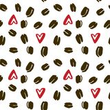 Teste padrão sem emenda do vetor de feijões de café desenhados à mão e do coração vermelho ilustração do vetor