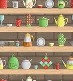 Teste padrão sem emenda do vetor de ferramentas coloridas da cozinha em prateleiras com fundo do tijolo ilustração do vetor