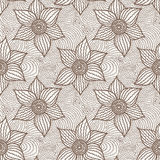 Teste padrão sem emenda do vetor de flores desenhados à mão Fotografia de Stock