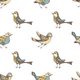 Teste padrão sem emenda do vetor de vários pássaros ilustração royalty free