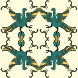 Teste padrão sem emenda do vetor decorativo com pássaros mitológicos Imagens de Stock