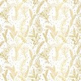 Teste padrão sem emenda do vetor do feriado do Natal da folha de ouro do falso floral Fotografia de Stock Royalty Free