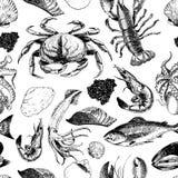 Teste padrão sem emenda do vetor do marisco Lagosta, caranguejo, salmões, caviar, calamar, camarão e moluscos Ícones gravados tir Fotos de Stock Royalty Free