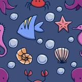 Teste padrão sem emenda do vetor do oceano Imagens de Stock