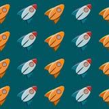 Teste padrão sem emenda do vetor do sumário do foguete do brinquedo do espaço. Imagem de Stock