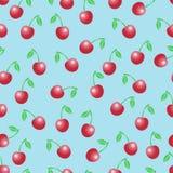 Teste padrão sem emenda do vetor do verão com cerejas vermelhas Fotos de Stock