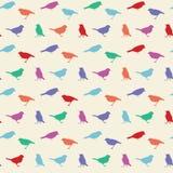 Teste padrão sem emenda do vetor do vintage com pássaros ilustração stock