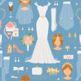 Teste padrão sem emenda do vetor dos ícones da noiva dos desenhos animados do casamento ilustração royalty free