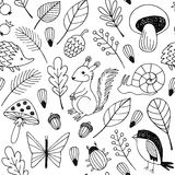Teste padrão sem emenda do vetor dos animais da floresta Imagens de Stock Royalty Free