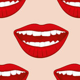 Teste padrão sem emenda do vetor dos bordos da mulher de sorriso vermelha ilustração stock