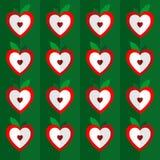 Teste padrão sem emenda do vetor dos corações Coração estilizado na maçã Fotos de Stock Royalty Free