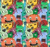 Teste padrão sem emenda do vetor dos monstro engraçados Fotos de Stock