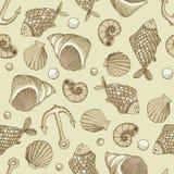 Teste padrão sem emenda do vetor dos peixes e do shell Foto de Stock