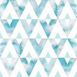 Teste padrão sem emenda do vetor dos triângulos do céu da aquarela Foto de Stock Royalty Free