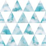 Teste padrão sem emenda do vetor dos triângulos do céu da aquarela Foto de Stock