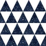 Teste padrão sem emenda do vetor dos triângulos do céu noturno da aquarela Imagem de Stock Royalty Free