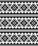 Teste padrão sem emenda do vetor escandinavo do inverno ou do Natal - estilo tradicional do bordado de Sami Lapland Fotos de Stock Royalty Free