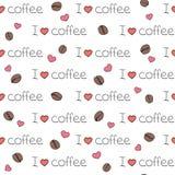 Teste padrão sem emenda do vetor eu amo o café imagem de stock