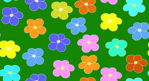 Teste padrão sem emenda do vetor floral com flores coloridos em um fundo verde do campo Fotos de Stock Royalty Free