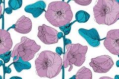Teste padrão sem emenda do vetor floral da arte imagens de stock royalty free