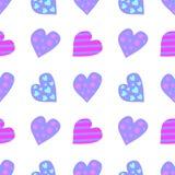 Teste padrão sem emenda do vetor Fundo bonito com corações coloridos no contexto branco Imagem de Stock