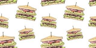 Teste padrão sem emenda do vetor, fundo dos sanduíches, molde colorido da ilustração, fast food ilustração do vetor