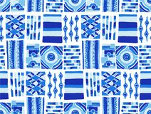 Teste padrão sem emenda do vetor Fundo geométrico com elementos tribais decorativos tirados mão em cores do marrom do vintage Imagem de Stock