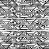Teste padrão sem emenda do vetor Fundo geométrico com elementos tribais decorativos tirados mão em cores preto e branco Cópia com ilustração royalty free