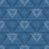 Teste padrão sem emenda do vetor Fundo geométrico simétrico com triângulos azuis na forma das estrelas Ornamen de repetição decor Imagem de Stock