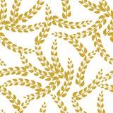 Teste padrão sem emenda do vetor: Galhos dourados da planta de Rye no fundo branco, fundo da padaria Imagens de Stock Royalty Free