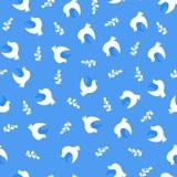 Teste padrão sem emenda do vetor, ilustração do vetor das pombas e ramos Imagens de Stock Royalty Free